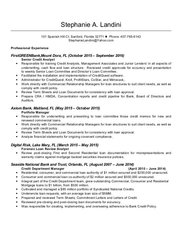 stephanie landini resume september 2016