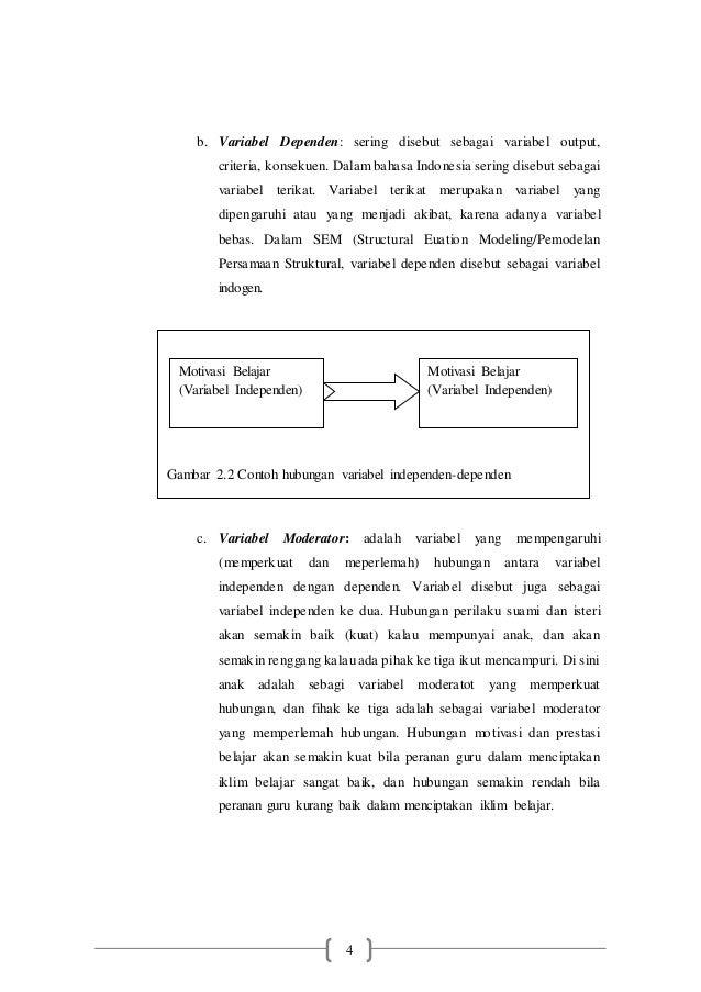 4 b. Variabel Dependen: sering disebut sebagai variabel output, criteria, konsekuen. Dalam bahasa Indonesia sering disebut...