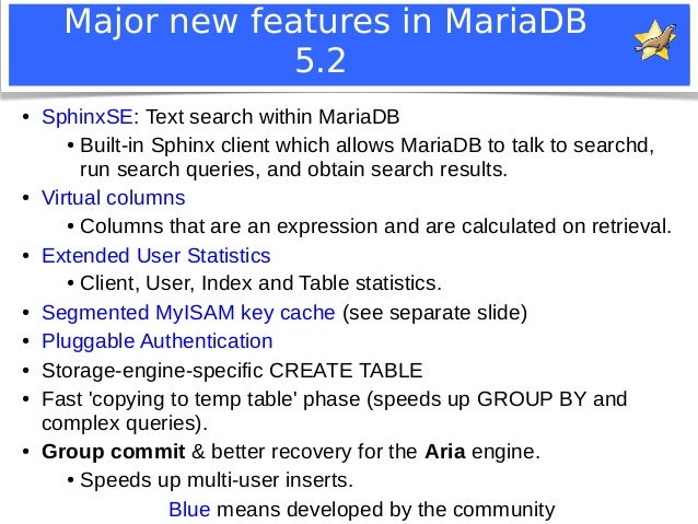 Major new features in MariaDB  5.2  ● SphinxSE: Text search within MariaDB  ● Built-in Sphinx client which allows MariaDB ...