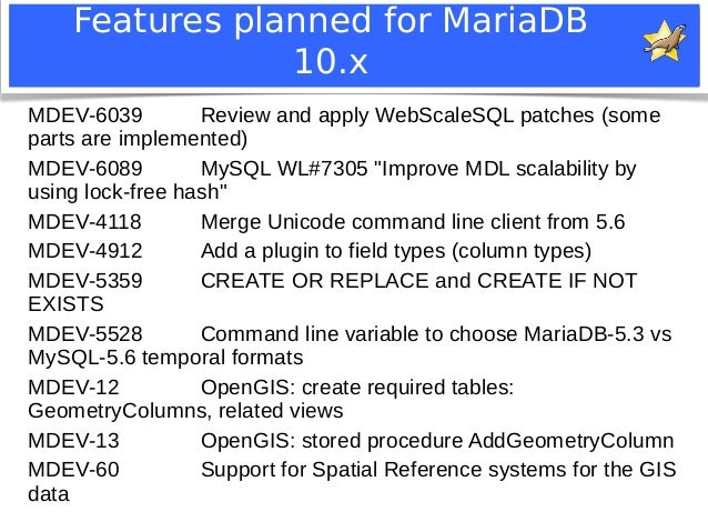 Features planned for MariaDB  10.x  MDEV-6039 Review and apply WebScaleSQL patches (some  parts are implemented)  MDEV-608...
