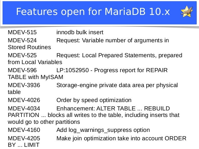 Features open for MariaDB 10.x  MDEV-515 innodb bulk insert  MDEV-524 Request: Variable number of arguments in  Stored Rou...