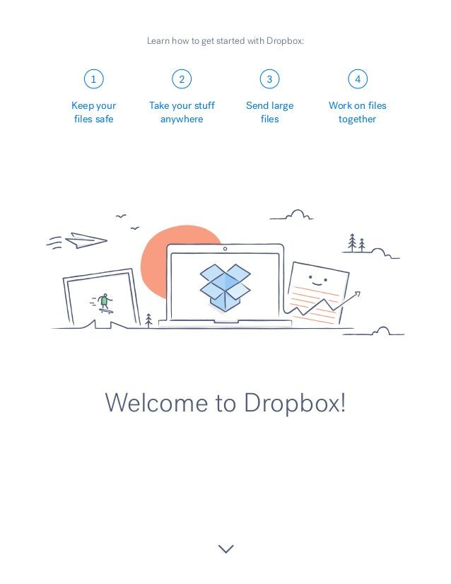 1 2 3 4 Welcome to Dropbox! Keep your files safe Take your stuff anywhere Send large files Work on files together Learn ho...