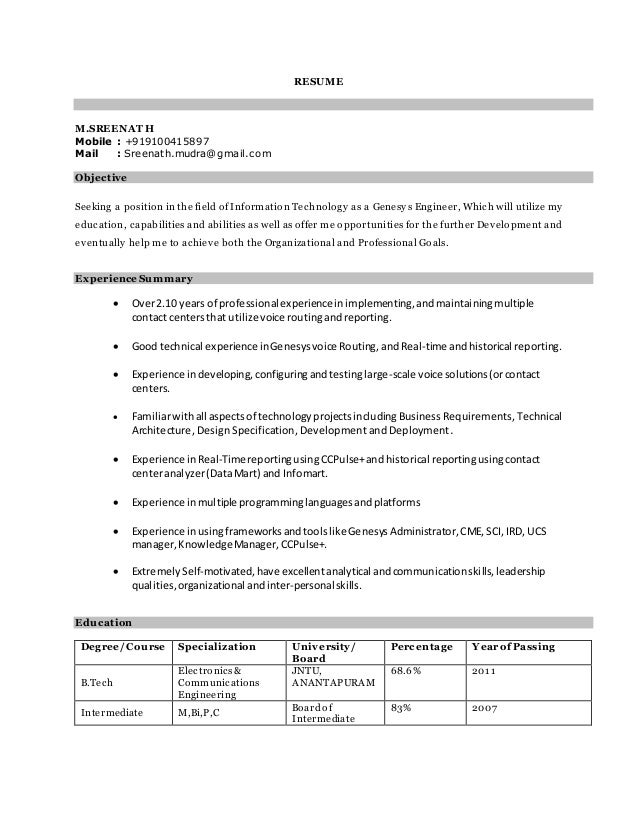 shrinath updated genesys resume
