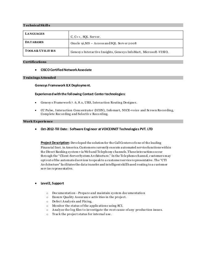 Genesys resume