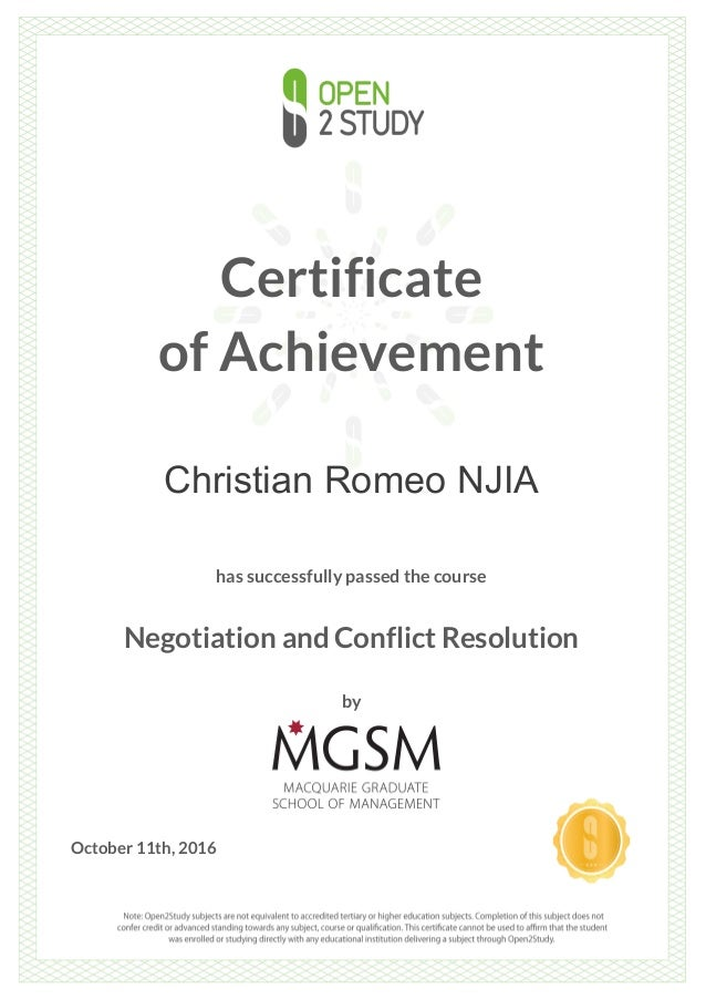 Certificate of Achievement Christian Romeo NJIA has successfully passed the course Negotiation and Conflict Resolution by ...