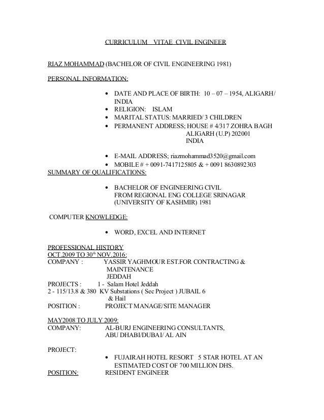 CURRICULUM VITAE CIVIL ENGINEER RIAZ MOHAMMAD (BACHELOR OF CIVIL ENGINEERING 1981) PERSONAL INFORMATION: • DATE AND PLACE ...