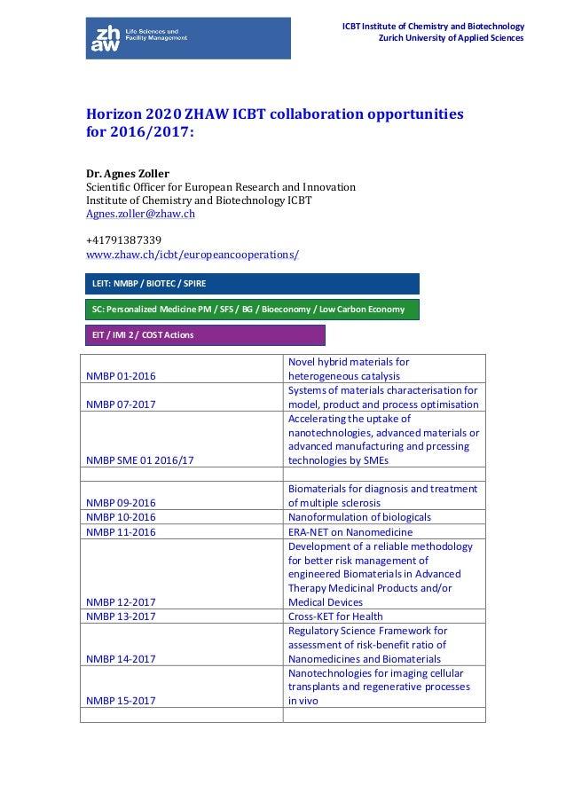 Horizon2020ZHAWICBTcollaborationopportunities for2016/2017:   Dr.AgnesZoller ScientificOfficerforEuropean...