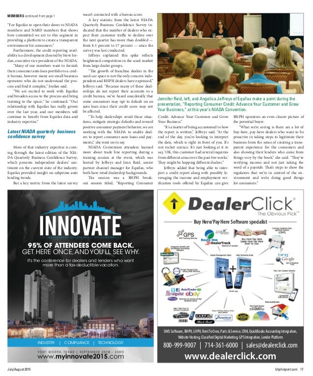 18 BHPH REPORT Vol.2 No.6 By Nick Zulovich, Editor LAKE SUCCESS and WOODSIDE, N.Y. — While dealership management empha- si...
