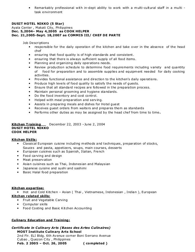 kitchen helper resume