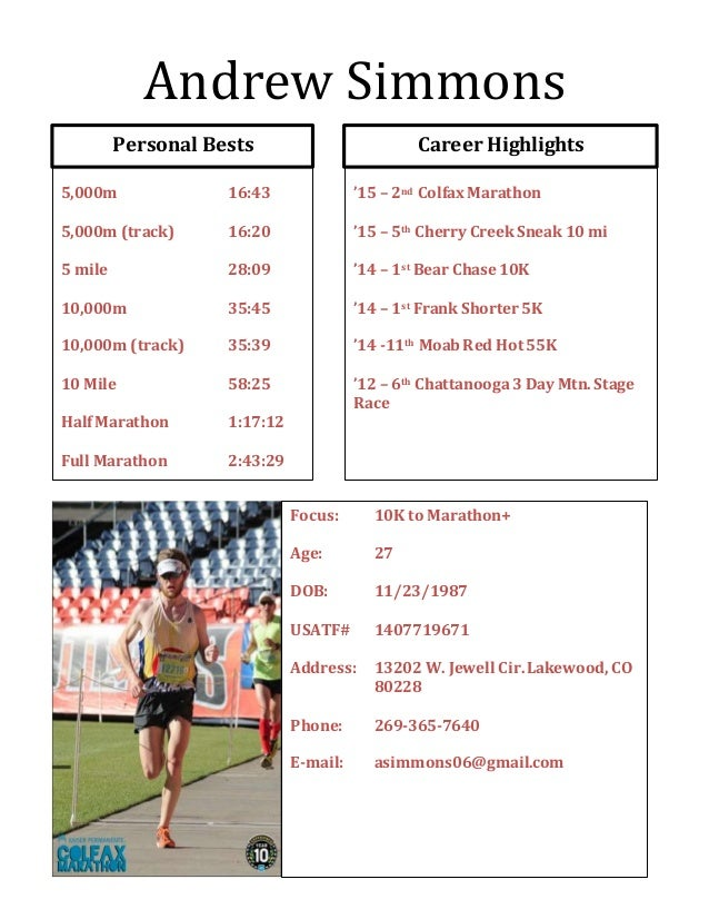 andrew simmons athletic resume