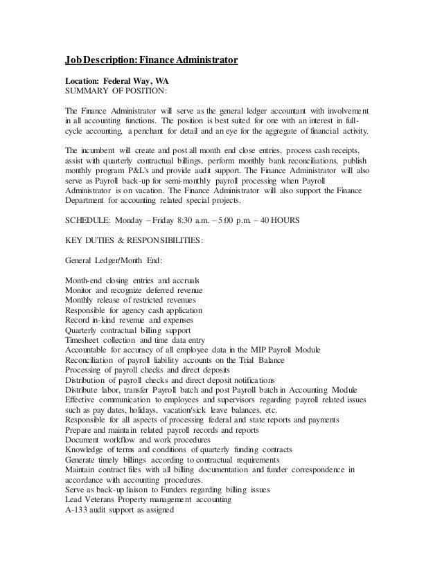 payroll administrator job description
