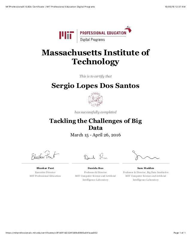 MITProfessionalX 6.BDx Certificate | MIT Professional Education Digit…
