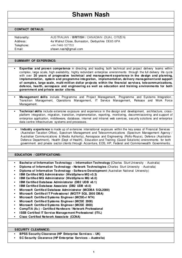 Resume (Shawn Nash)