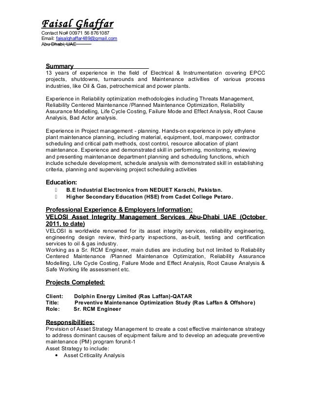 reliability engineer summary 13 years of experience in the field of electrical instrumentation covering epcc projects - Reliability Engineer Sample Resume