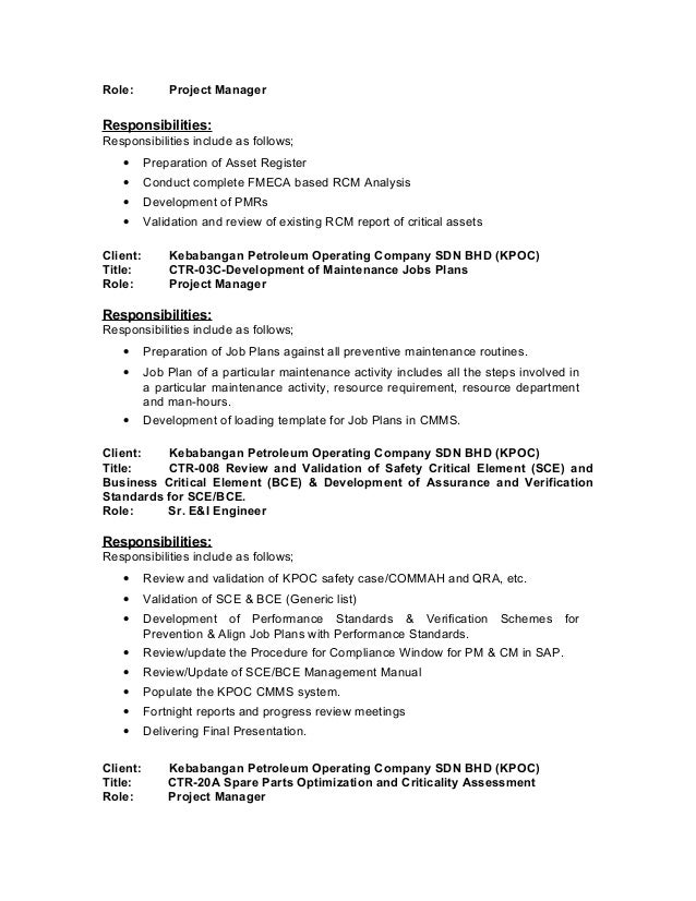 maintenance routines 4 - Certified Reliability Engineer Sample Resume