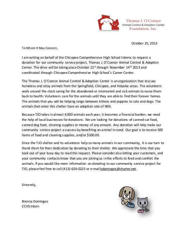 community service hours letter
