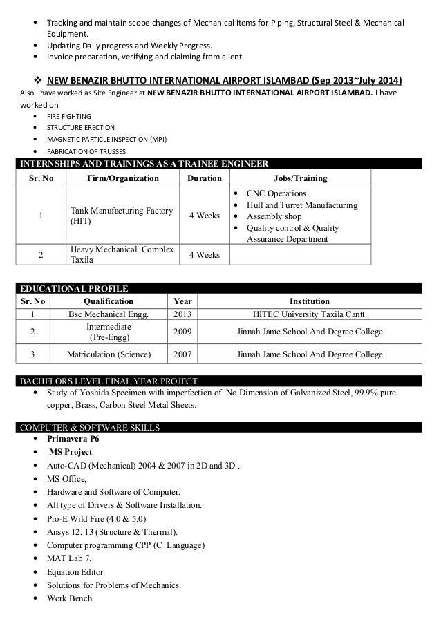 Zain Naveed Mechanical EngineerCV - Mechanical invoice