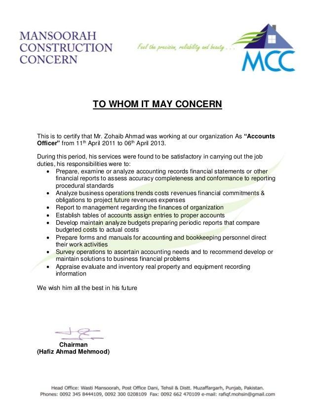 Experience Letter Mansoorah Construction