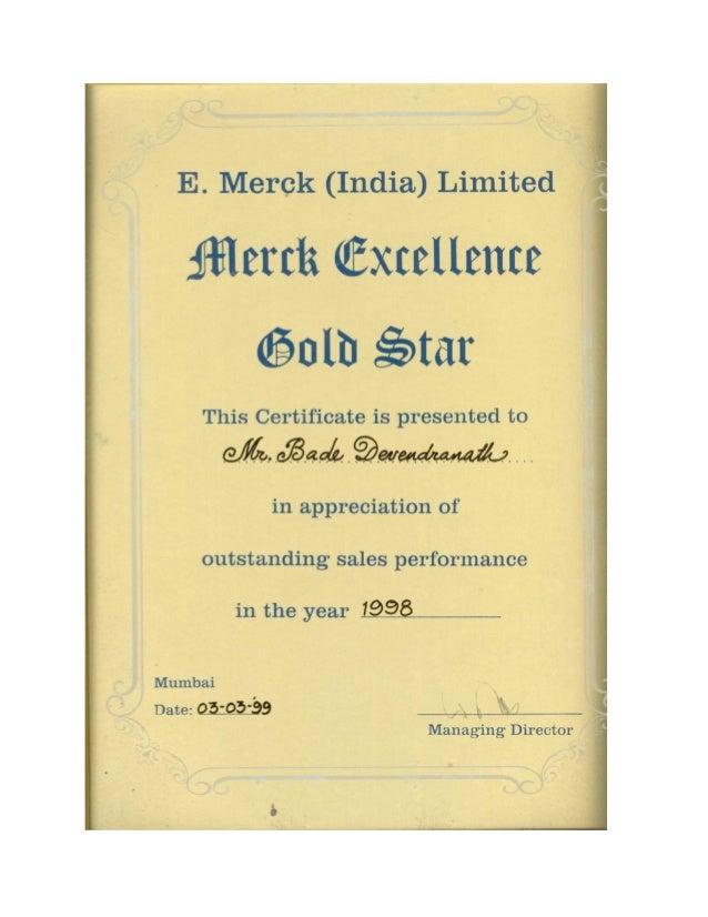 Merck Glod Star Award