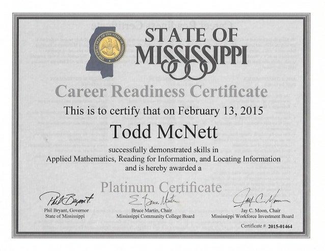 Career Readiness Platinum Certificate