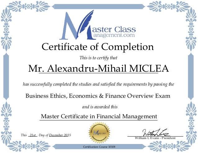Financial Management Certificate Mr Alexandru Mihail Miclea