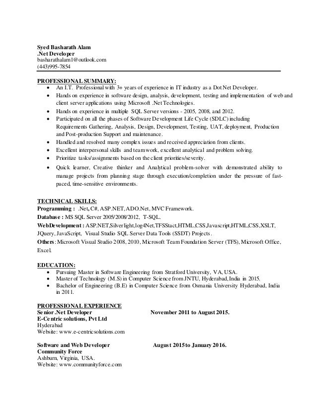 Sr. DOT Net Developer Resume DC - Hire IT People