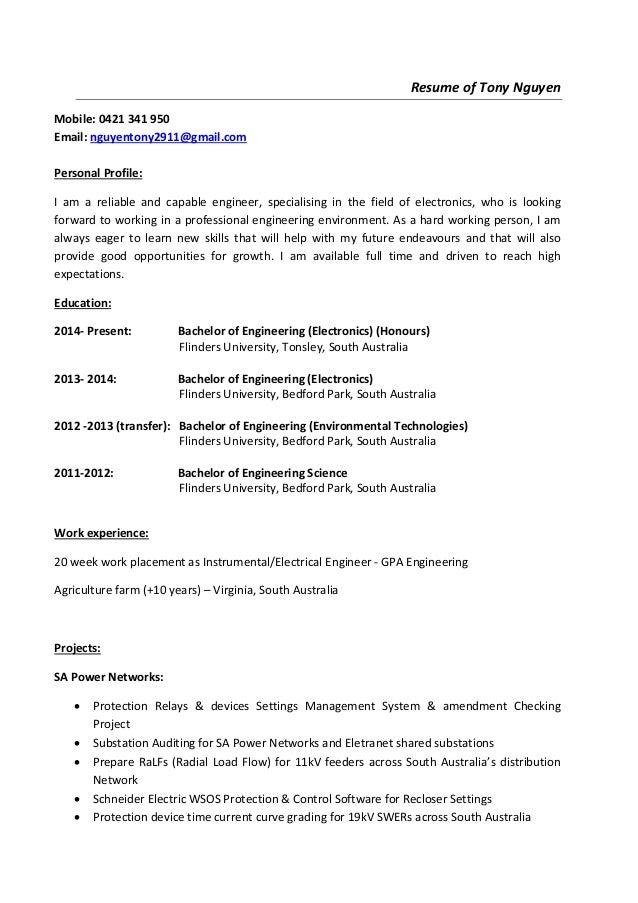 resume of tonynguyen