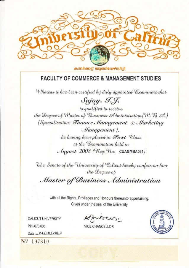Mba certificate yadclub Gallery