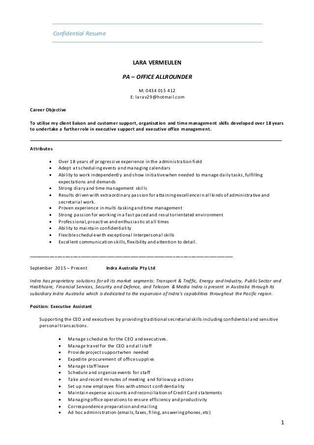 resume example australia 2015