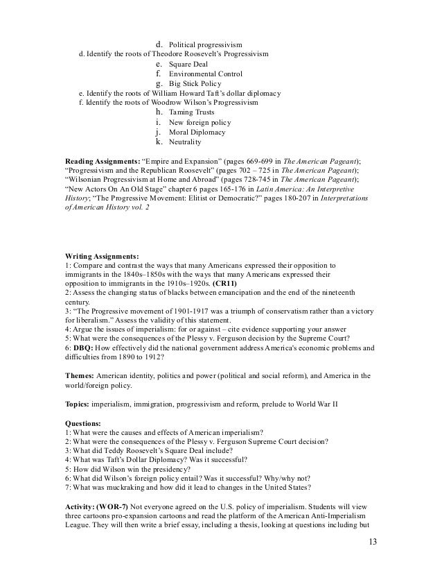 apush audit syllabus 2a rh slideshare net Teddy Roosevelt Conservation Franklin Roosevelt
