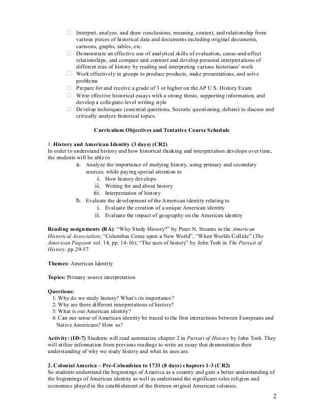 APUSH Audit Syllabus 2a