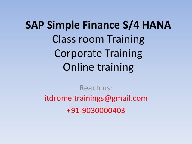 sap s4 hana simple finance online training courses in