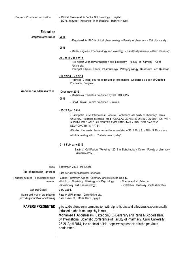 3 previous occupation or position clinical pharmacist. Resume Example. Resume CV Cover Letter