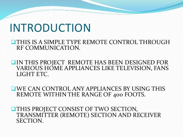 LONG RANGE REMOTE CONTROL USING RF DEVICE ppt