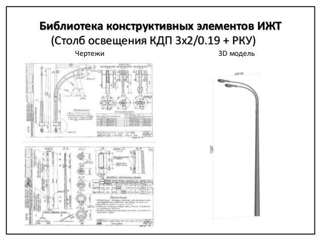 Чертежи 3D модель (Столб освещения КДП 3x2/0.19 + РКУ) Библиотека конструктивных элементов ИЖТ