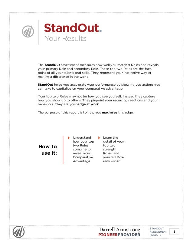 The StandOut assessment measures how well you match 9 Roles and reveals your primary Role and secondary Role. These top tw...