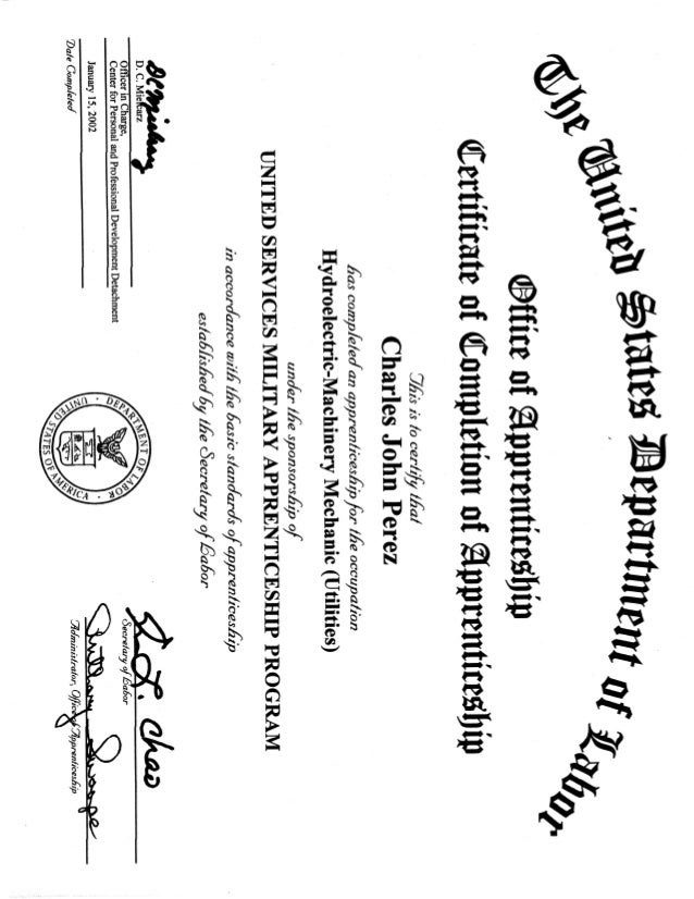Dept of Labor Cert Hydroelectric Machinery Mechanic Utilities