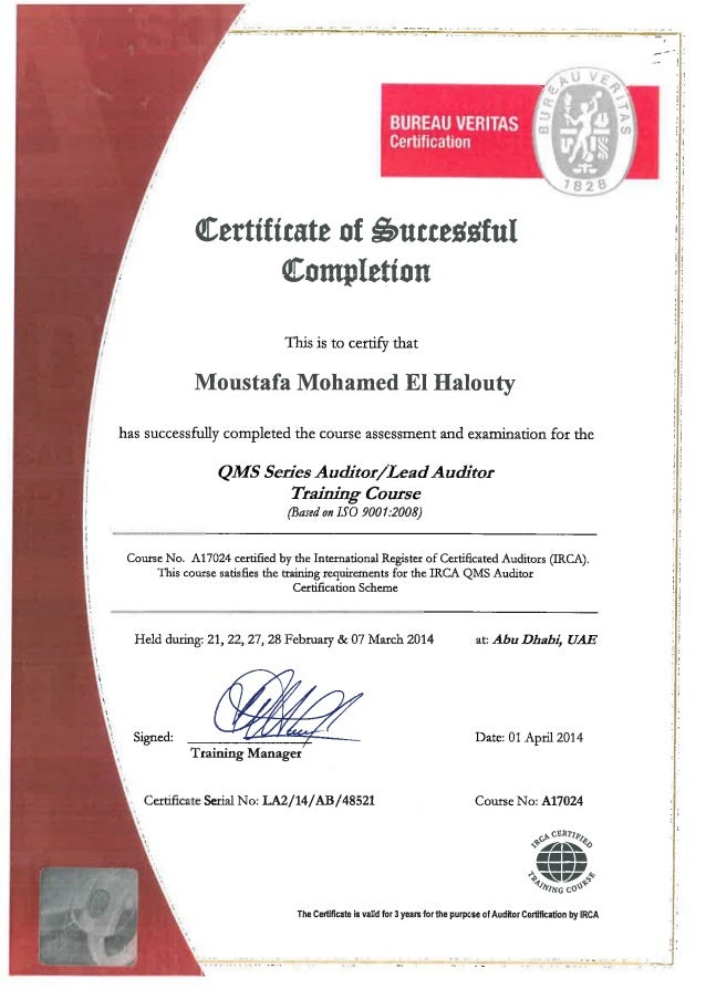 Iso 14001 ems lead auditor certificate.