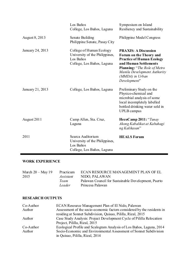 best ideas about Chronological Resume Template on Pinterest SlideShare ecologist  cv