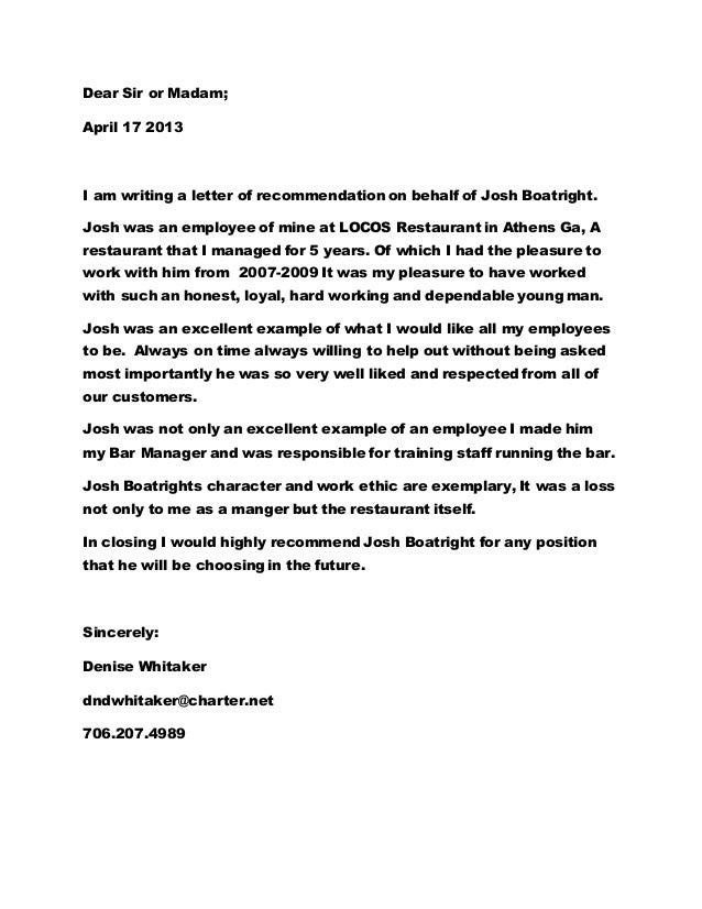 josh boatrigh letter of reccomendation