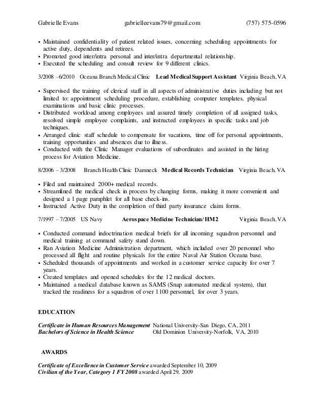 medical assistant cover letter resume genius gabrielle amanda evans resume - Sample Federal Resume Medical Support Assistant