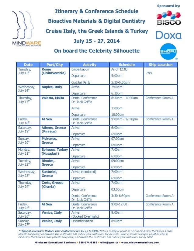 MindWare Educational Seminars • 888-574-8288 • elliot@gam.ca • www.mindwareseminars.com Date Port/City Activity Schedule S...