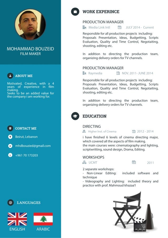 ARABICENGLISH +96170173203 mhdbouzied@gmail.com Beirut,Lebanon Motivated,Creative,with a 4 years of experience in lm makin...