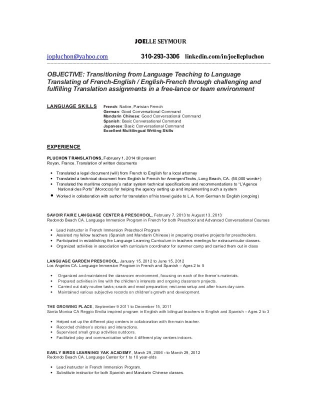 Language translator resume