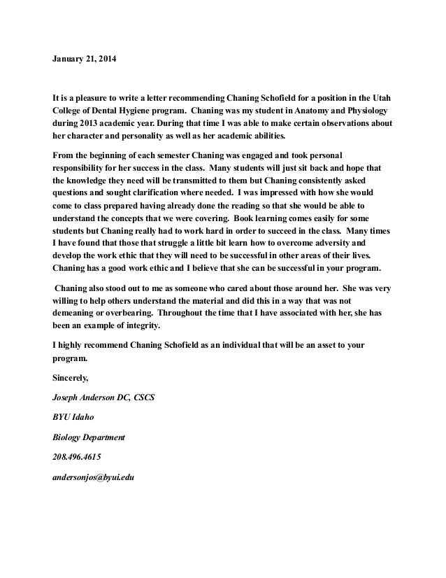 Dental Hygiene Recommendation Letter Sample