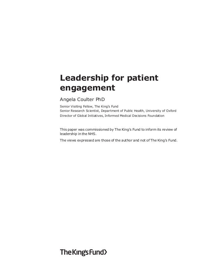 patient centered leadership essay Aim: to explore patient centred leadership at every level in an organisation and  provide  evaluation: the leadership qualities framework (nhs institute of.