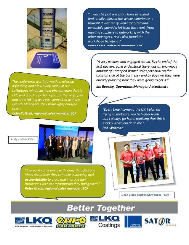 Better Together 2014 Branch Manager Sales Conference Newsletter