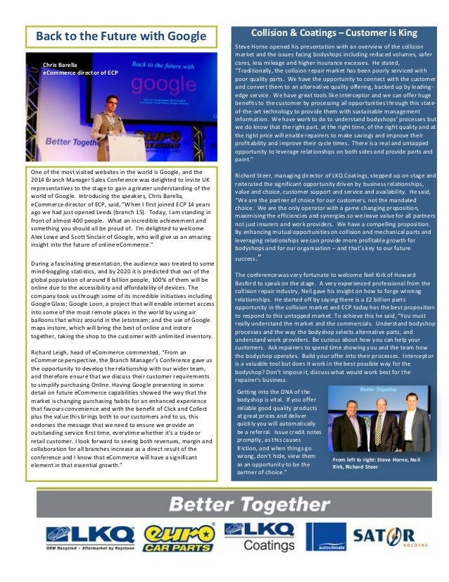 Better Together 2014 Branch Manager Sales Conference Newsletter