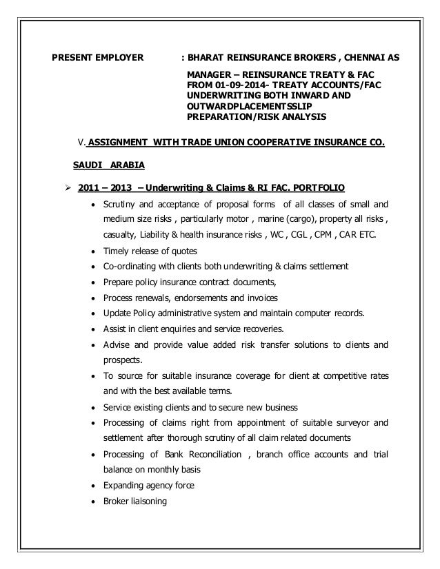 Fantastic Reinsurance Accounting Resume Picture Collection ...
