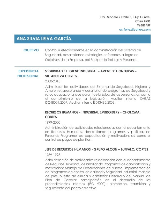 Curriculum Vitae Ana De Funez